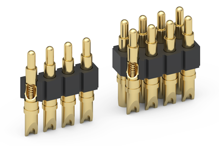 "Solder Cup Spring-Loaded Connectors with .090"" (2,3mm) Stroke"