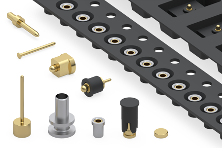 Selection of Machined Pins and Receptacles Packaged on Tape & Reel