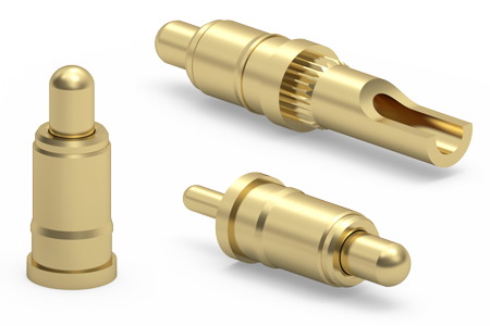 High Current, Small-Scale Spring-Loaded Pins